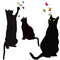 Black cats silhouettes and colorful butterflies