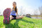 Fit fitness woman stretching exercises outdoors