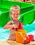 Child with bucket in swimming pool