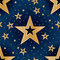 Gold star good night seamless pattern