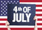 4th of July card with american flag on background