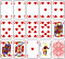 Poker cards heart set four color classic design