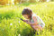 Little child looking through a magnifying glass on dandelion