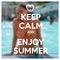 Keep calm motivational poster with summer motive. Happy young woman in swimming pool drinking cocktail. Summer vacation in resort