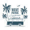 Vintage, retro surf van with palms and a gull