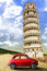 Tower of Pisa and the old vintage red car. Italy retrò scene
