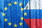 Flags of the European Union and Russia