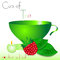 Abstract white background with green cup of tea and raspberry
