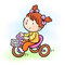 Baby girl riding tricycle