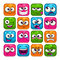 Funny colorful square faces set