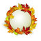 Vector card with colorful autumn leaves and white banner