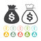 Money bag sign icon Dollar currency set Vector black Yellow pink gre