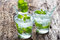 Glass of cold water with fresh mint leaves and ice cubes on old wooden background
