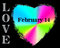 Vibrant rainbow colored Valentine heart on black background. The words LOVE and FEBRUARY 14