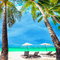 Tropical beach landscape with palm trees. Boracay island, Philippines