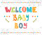 Welcome baby boy. Baby boy arrival postcard.