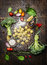 Tortellini with fresh vegetables , preparation with flour on rustic wooden background, top view.