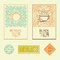 Vector tea packaging labels and badges in trendy linear style