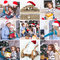Collage on the theme of Christmas: Happy family, children, Chris