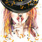 watercolor illustration Girl witches and Halloween party