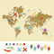 Hand drawn world map with pins and arrows vector