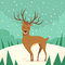 Deer Cartoon Animal Reindeer Winter Forest