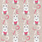 Rabbit with heart seamless pattern