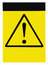 Blank yellow black triangle general caution danger warning attention sign, isolated, large detailed vertical signage copy space