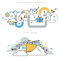 Flat line design vector illustration concepts for cloud computing