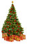 Christmas Tree and Presents Gifts, Xmas Tree Toys on White