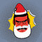 Evil Angry Santa Claus. Red with anger person Swears and shouts.