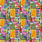 Abstract acrylic artistic colored polka dot seamless pattern in the form of squares.