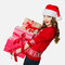 Gorgeous woman holding loads of heavy presents