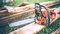 Detail view of chainsaw, construction tools, agriculture details. Gardening equipment