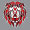 Patterned red head of the lion on the grey background. African / indian / totem / tattoo design. It may be used for design of a t-