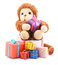 Toy monkey with a bunch of toys.
