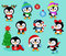 Collection of cute Christmas penguins kids