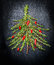 Food Christmas tree  made of fresh rosemary and red chili on dark background