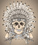 Hand drawn Native American Indian headdress with human skull and