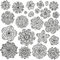 Set of creative flowers for your design. Romantic floral patterns. Black and white colors.