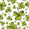 Hand drawn seamless pattern with St. Patrick's day elements. Vector sketch illustration