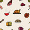 Seamless pattern colored food icons.