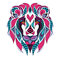 Patterned colored head of the lion. African / indian / totem / tattoo design