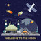 Vector flat illustration of moon colony with comets, meteors, craters, satellites, bases, rover, shuttles in space