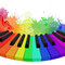 Illustration of rainbow colored piano keys,  musical notes