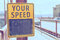 Your speed sign on the bridge in pastel style