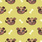 Seamless pattern with funny dog faces and bones