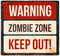 Halloween warning sign. Beware of zombies. Vector illustration.