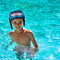 Boy kid child eight years old inside swimming pool portrait happy fun bright day diving goggles square