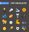 Set of winter and summer sport isolated icons. Hockey-stick, baseball, volleyball, badminton, rugby. Flat style design.